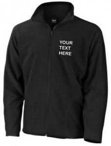 Embroidered/Personalised Black Full Zip Micro Fleece Jacket, Text/Name/Logo