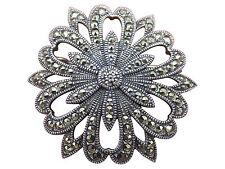 Judith Jack Sterling Silver Brooch Pin Marcasite Art Deco Designer Jewelry 578g