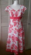 PER UNA White Coral Fit & Flare Occasion Dress 8R Wedding Garden Party Races