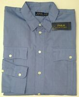 NWT $145 Polo Ralph Lauren Shirt Mens Blue Long Sleeve Mens XL 100% Cotton NEW