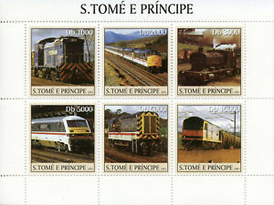 Sao Tome & Principe 2003 MNH Steam Engines Trains 6v M/S Railways Rail Stamps