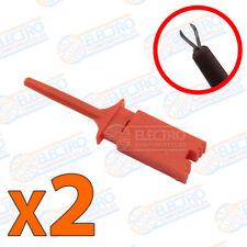 2x Puntas de prueba plana con pinza ROJO clip test hook