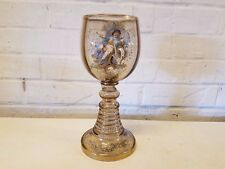 Vintage Likely Bohemian European Glass Enamel Painted Goblet of Man in Chair