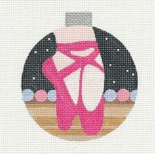 Pink Ballet Shoes Ornament RD. handpainted Needlepoint Canvas Raymond Crawford
