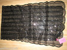 NEW BETSEY JOHNSON Shawl Scarf Wrap Scallop Edge Black Sheer Sparkly Sequins