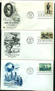 1964  FDC covers set of 14 1242//1260 w. 1260 Amateur radio, 1251 Drs. Mayo LOOK