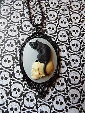 #JR708NC BLACK CAT Cameo Necklace SKULL MORBID Black Enamel Heart GOTHIC WICCA