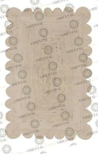 Scallop White Jute Hand Made Rug, Decor Rug Customize in Any Size.