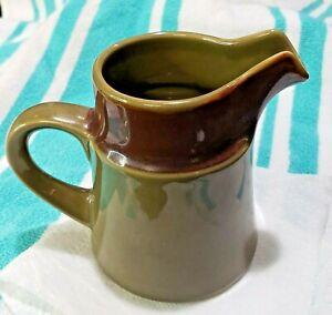 Noritake Primastone Sea Mist Creamer Vintage 70's Olive Green W/Brown Rim