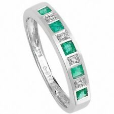 Emerald and Diamond Eternity Ring White Gold Large Finger Size R - Z Certificate