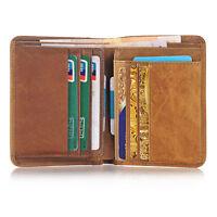 Wallet ID Card holder Bifold Coin Purse Pocket Men's Genuine Leather Money Clip