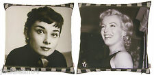 "2 X FILLED FILM MOVIE STARS MARILYN MONROE & AUDREY HEPBURN CUSHIONS 17"" - 43CM"