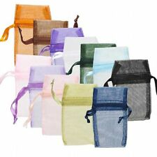 Lot of 12 Small Assorted Sheer Organza Jewelry Gift Pouch Bags With Cinch String