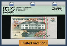TT PK 138d 1998 SURINAME 25 GULDEN PCGS 68 PPQ SUPERB GEM NEW FINEST KNOWN!