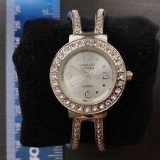 Embassy by Gruen Crystal/Rhinestones Silver Tone Cuff Bracelet Watch-New Battery