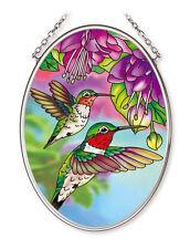 "Hummingbirds Fuschia Sun Catcher 3.25"" x 4.5"" AMIA Glass Flowers Small Oval New"