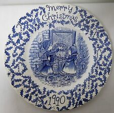 ROYAL CROWNFORD STAFFORDSHIRE BLUE AND WHITE VINTAGE CHRISTMAS PLATE 1990 EUVC