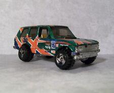 1989 Hot Wheels -Range Rover, World Racers #15, Green w/Graphics, Razor Rims
