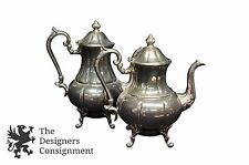 2 Vintage Sheridan Silverplate on Copper Footed Tea Coffee Pots Pitchers Drink