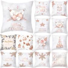 Christmas Print Rose Gold Pink Throw Pillow Case Cushion Bench Sofa Home Decors