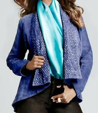 IMAN Platinum Collection Suede Leather Jacket $224.95 BLUE XS New with Tags