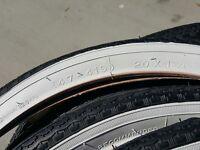 BICYCLE TIRES FIT SCHWINN STINGRAY BIKES 20 X 1 3/4 S-7 RIMS NEW WHITE WALLS