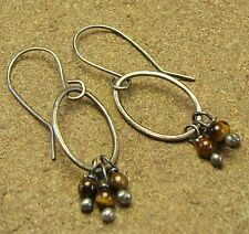 Tigers Eye Sterling Silver Hammered Oval Drop Dangle Earrings