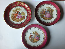 """Three Vintage Limoges Miniature   Plates  """" Courting couple """"  Serenading"""