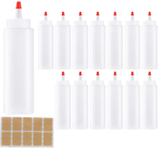 Clear Plastic Squeeze Bottle Condiment Dispenser 8-Oz With Red Tip Caps 14 Pack