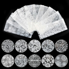 New Nail Art Lace Roses Floral Transfer Foil Stickers Set White