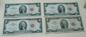 (4) 1963 $2 Red Seal Note Bill Lot