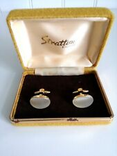 Vintage Stratton Men's Gold Tone Faux Mother of Pearl Cufflinks in original box