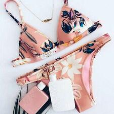 Womens Floral Low Waist Swimwear Beachwear Push-up Padded Bra Bikini Set Pink S