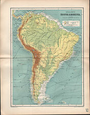 1903 MAP ~ SOUTH AMERICA PHYSICAL OCEAN CURRENTS ISOTHERMS MAIN WATER-PARTINGS