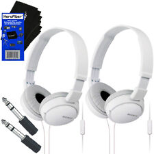Sony MDRZX110AP Smartphone Headset with Mic,White + Headphone Adapter (2 pack)