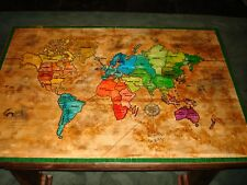 NEW SOLID WOOD HAND MADE & CARVED UNIQUE RISK MAP COFFEE TABLE / DESK W/ DRAWER