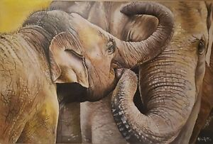 Original oil painting on canvas Stretched Canvas Elephant Art African Elephant