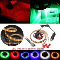 2pcs Car Interior LED Decorative Atmosphere Footwell Strip Lights Switch Plug