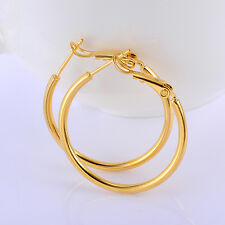 Womens yellow Gold Filled Big Hoop Earrings Circle Jewelry 29*2mm