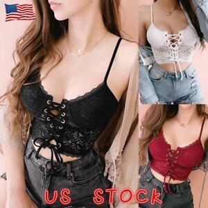 US Women Lace Vest Crop Tops Underwear Bralette Bralet Bra Bustier Cami Tank Top