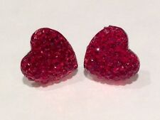Small Sparkly Red Heart Crystal Diamante Diamond Stud Earrings