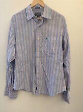 Abercrombie & Fitch Dress Shirt Xl Men's Blue Striped Cotton Muscle Moose (234)