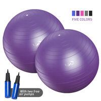 2X Yoga Ball Air Pump Anti Burst Exercise Balance Workout Stability 55/65/75/85