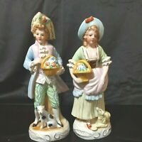 """Vintage Colonial Porcelain Man/Woman Figurines w/Dogs 9""""tall Lot of 2 Preowned"""