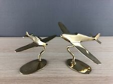 Set of 2 Vintage Solid Polished Brass Spitfire Hurricane Aeroplanes on stand