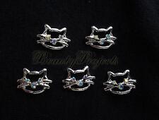 5pcs nail art crystal 3D kitty cat face rhinestone charms acrylic nails gel A96