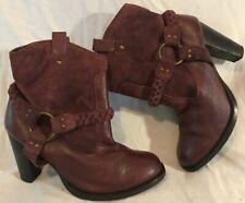 Faith Burgundy Ankle Leather Boots Size 5 (397Q)