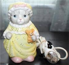 """Vintage 1989 Schmid KITTY CUCUMBER Porcelain CAT in NIGHTGOWN 5 1/2""""h Night lamp"""