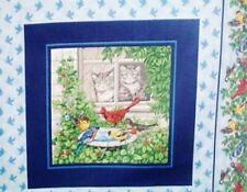 New listing Cats & Birds Fabric at Feeder Cardinal Goldfinch Pillow Quilt - 2sq.Panel