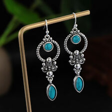 Turquoise GEMSTONE Natural Stone Pendant Retro Thai Silver Dangle Hook Earring